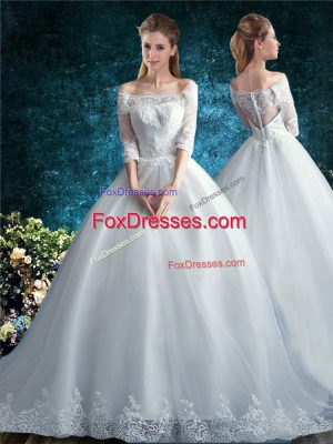 Off The Shoulder Half Sleeves Tulle Wedding Dresses Lace Court Train Clasp Handle