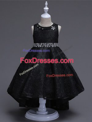 Lace Scoop Sleeveless Lace Up Beading Flower Girl Dresses in Black