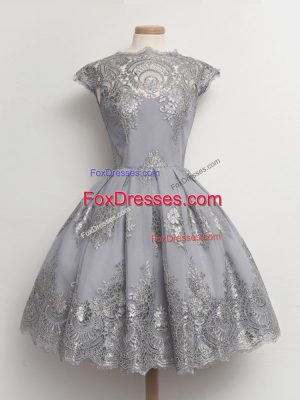 Discount Grey Cap Sleeves Lace Tea Length Court Dresses for Sweet 16