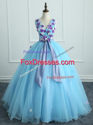 Low Price Floor Length Ball Gowns Sleeveless Light Blue Sweet 16 Dresses Lace Up