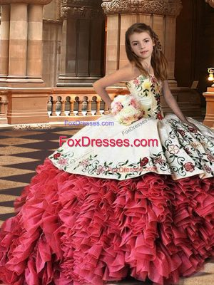 Lace Up Little Girls Pageant Dress Wholesale White And Red for Party and Wedding Party with Embroidery and Ruffles Brush Train