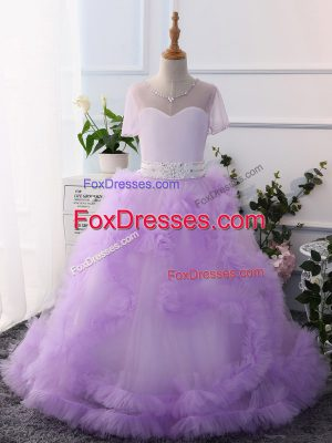 Beauteous Scoop Short Sleeves Tulle Little Girls Pageant Gowns Beading Clasp Handle