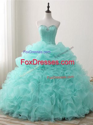 Unique Sweetheart Sleeveless Organza Vestidos de Quinceanera Beading and Ruffles and Pick Ups Lace Up