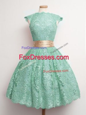 On Sale Turquoise Ball Gowns Belt Court Dresses for Sweet 16 Lace Up Lace Cap Sleeves Knee Length