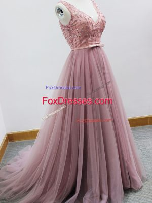 Pink Dama Dress for Quinceanera Prom and Party and Wedding Party with Beading and Belt V-neck Sleeveless Brush Train Zipper