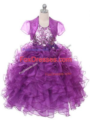Purple Scoop Neckline Ruffles and Sequins and Bowknot Kids Pageant Dress Sleeveless Lace Up