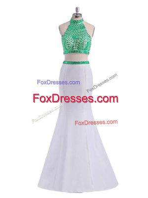 White Two Pieces Halter Top Sleeveless Satin Floor Length Criss Cross Beading Prom Party Dress