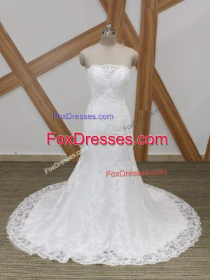 Dazzling White Sleeveless Brush Train Lace Wedding Gowns