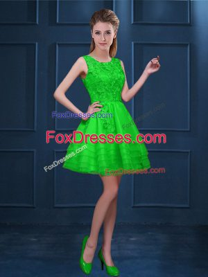 Fitting Tulle Zipper Dama Dress for Quinceanera Sleeveless Knee Length Lace and Ruffled Layers