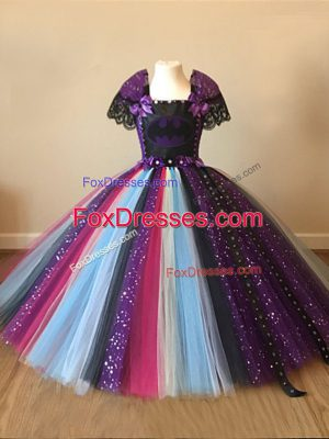 New Arrival Floor Length Multi-color Teens Party Dress Square Short Sleeves Zipper