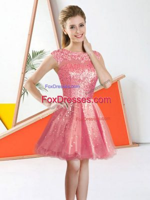Dramatic Knee Length Backless Damas Dress Watermelon Red for Prom and Party with Beading and Lace