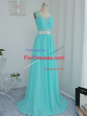 Stunning Empire Sleeveless Aqua Blue Quinceanera Court Dresses Sweep Train Side Zipper