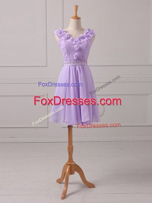Unique Lavender Empire Lace and Appliques Court Dresses for Sweet 16 Lace Up Chiffon Sleeveless Mini Length