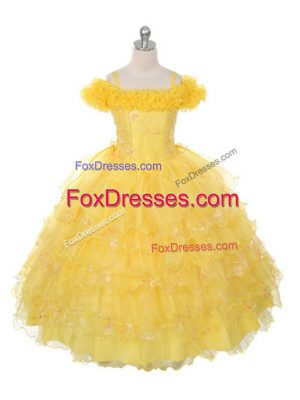 Low Price Yellow Ball Gowns Ruffles and Ruffled Layers Casual Dresses Lace Up Organza Sleeveless Floor Length