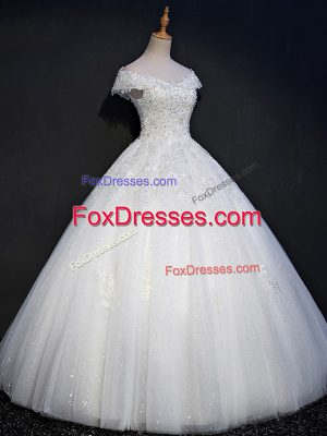 Flirting White Lace Up Off The Shoulder Beading Wedding Gowns Tulle Sleeveless