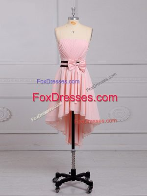 Fitting Baby Pink Chiffon Lace Up Strapless Sleeveless High Low Quinceanera Dama Dress Ruching and Bowknot