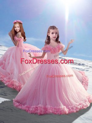Baby Pink Sleeveless Tulle Court Train Lace Up Kids Pageant Dress for Wedding Party