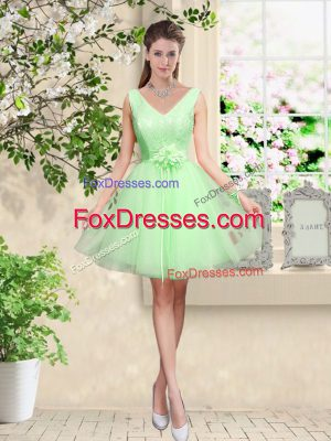 Top Selling Sleeveless Lace and Belt Knee Length Court Dresses for Sweet 16