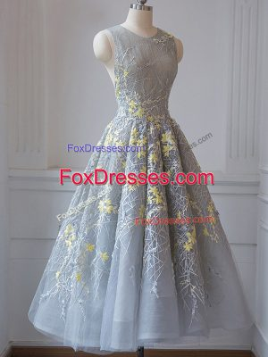 Noble Grey Tulle Criss Cross Scoop Sleeveless Tea Length Quinceanera Court of Honor Dress Lace