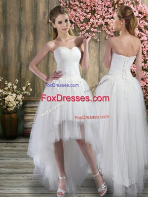 Extravagant Sweetheart Sleeveless Lace Up Bridal Gown White Tulle