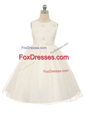 Perfect White Scoop Neckline Beading Party Dress for Girls Sleeveless Lace Up