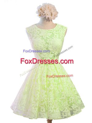 Knee Length Yellow Green Dama Dress Scoop Sleeveless Lace Up