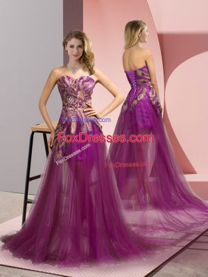 Elegant Sweetheart Sleeveless Prom Gown Brush Train Appliques Purple Tulle