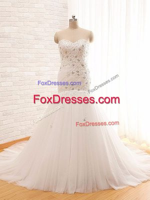 Sweet Tulle Sleeveless Bridal Gown Brush Train and Beading and Appliques
