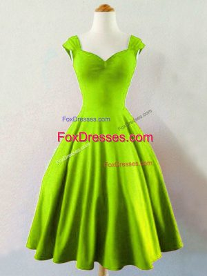 High End Yellow Green Taffeta Lace Up Straps Sleeveless Mini Length Quinceanera Court of Honor Dress Ruching