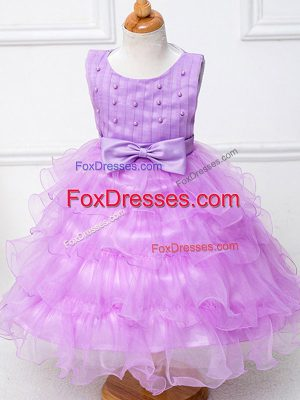 Fine Lilac Ball Gowns Scoop Sleeveless Organza Tea Length Zipper Ruffled Layers and Bowknot Toddler Flower Girl Dress
