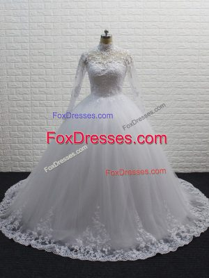 Fashionable White Ball Gowns Lace Wedding Gowns Clasp Handle Tulle Long Sleeves