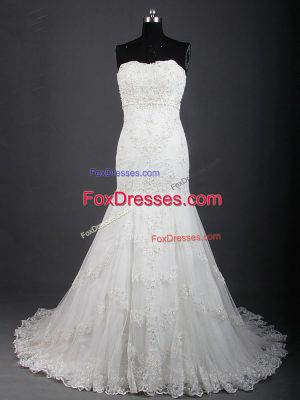 New Style White Mermaid Tulle Sweetheart Sleeveless Lace Lace Up Wedding Gowns Brush Train