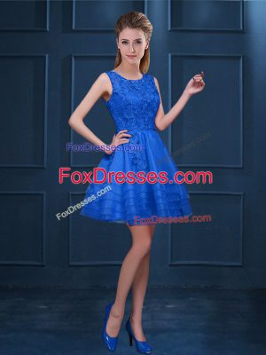 Sweet Lace and Ruffled Layers Vestidos de Damas Blue Zipper Sleeveless Knee Length