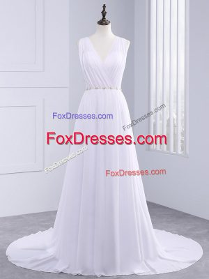 Elegant Brush Train Empire Wedding Gowns White V-neck Chiffon Sleeveless Backless