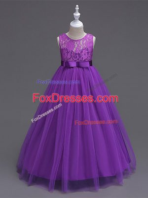 Purple Scoop Zipper Lace Flower Girl Dresses Sleeveless