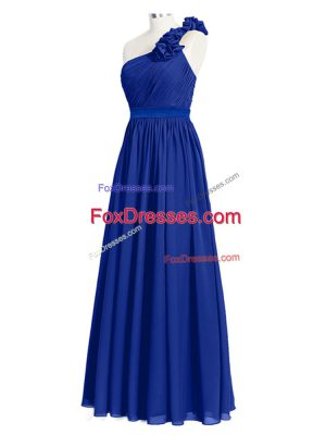 Unique Royal Blue Wedding Guest Dresses Prom and Party with Ruffles and Ruching One Shoulder Sleeveless Zipper