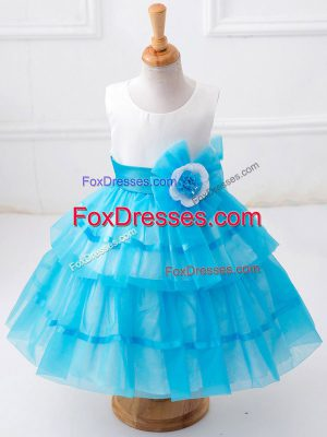 Tea Length Baby Blue Kids Formal Wear Tulle Sleeveless Ruffled Layers and Hand Made Flower