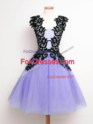 Decent Straps Sleeveless Tulle Wedding Party Dress Lace Lace Up