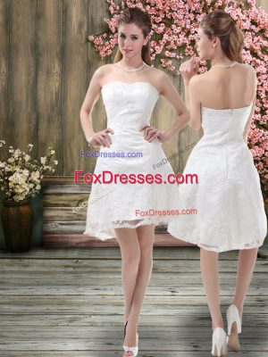 Beauteous Embroidery Bridal Gown White Zipper Sleeveless Mini Length