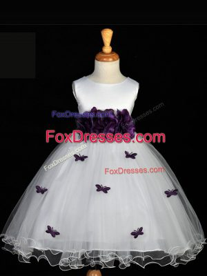 White Ball Gowns Scoop Sleeveless Tulle Knee Length Zipper Appliques and Bowknot and Hand Made Flower Casual Dresses