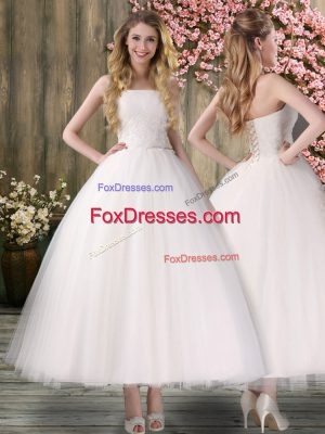 Organza Sleeveless Ankle Length Wedding Dress and Embroidery