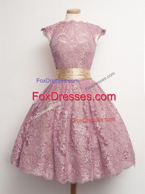 Exceptional Peach Ball Gowns Belt Dama Dress for Quinceanera Lace Up Lace Cap Sleeves Knee Length