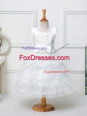 Tea Length White Toddler Flower Girl Dress Organza Sleeveless Ruffled Layers and Bowknot