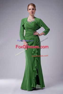 Suitable Green Sleeveless Beading Floor Length Mother Of The Bride Dress