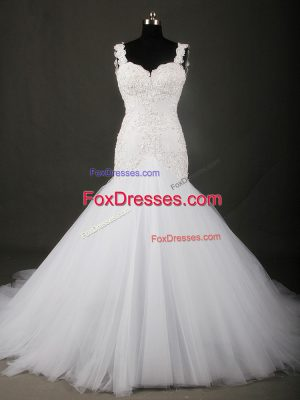 Pretty Court Train Mermaid Bridal Gown White Straps Tulle Sleeveless Backless