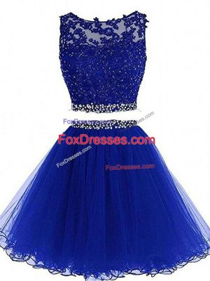 Fantastic Royal Blue Two Pieces Beading and Lace and Appliques Zipper Tulle Sleeveless Mini Length