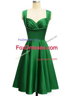 Dark Green Empire Taffeta Straps Sleeveless Ruching Knee Length Lace Up Wedding Guest Dresses