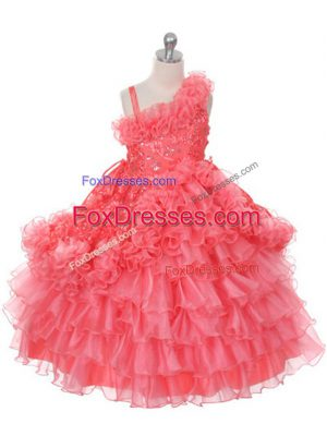On Sale Watermelon Red Asymmetric Neckline Lace and Ruffles and Ruffled Layers Juniors Party Dress Sleeveless Lace Up
