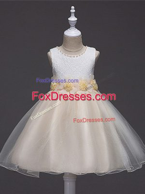 Enchanting Champagne Tulle Zipper Scoop Sleeveless Knee Length Party Dress for Toddlers Lace and Hand Made Flower