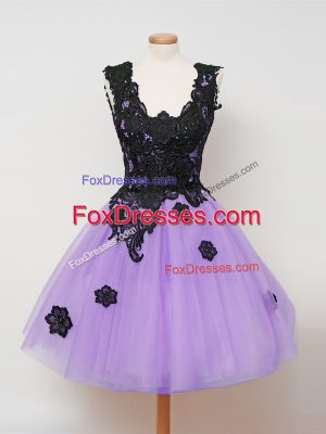 Stunning Lilac Wedding Guest Dresses Prom and Party and Wedding Party with Appliques Straps Sleeveless Zipper
